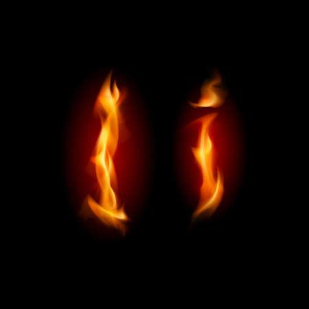 Fiery font. Letter I. Illustration on black background