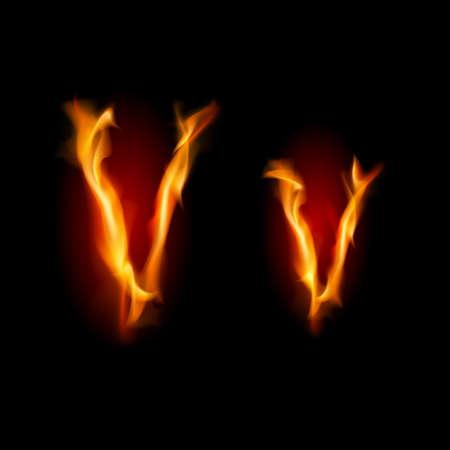 Fiery font. Letter V. Illustration on black background