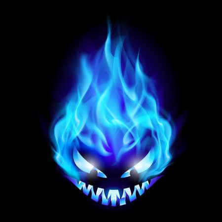 Blue Evil burning Halloween symbol. Illustration on black background