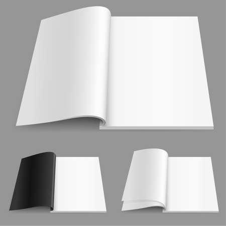 Realistic magazine set number two. Illustration on white background for design.
