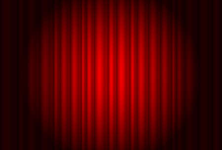 Curtain from the theatre with a spotlight. Illustration of the designer