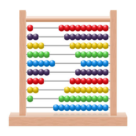 Illustration of an abacus with rainbow colored beads
