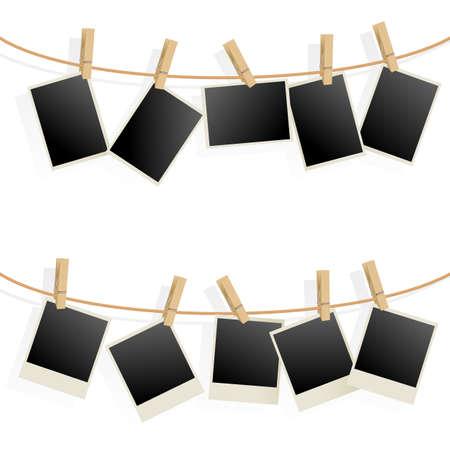 Photo Frames on Rope. Illustration on white background