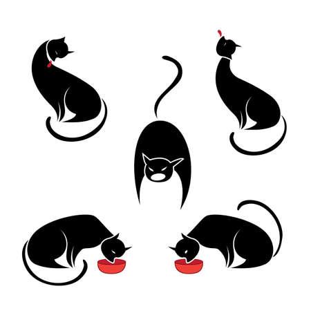 Big set of the black cats. Illustration on white background