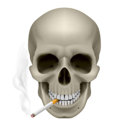 Human Skull with a cigarette. Illustration on white background