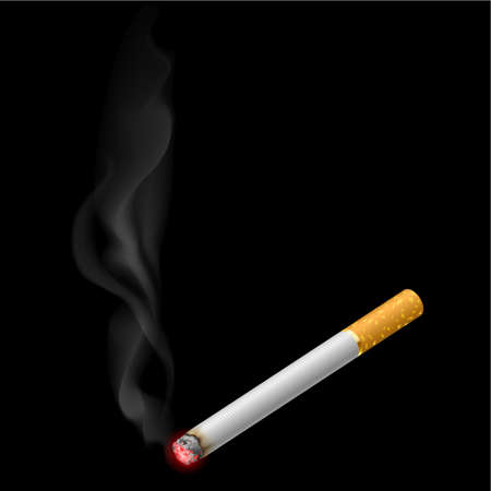 Burning cigarette. Illustration on black background for design