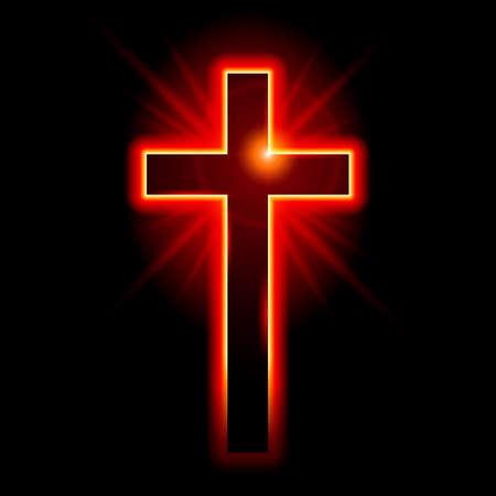 Illustration pour Christian symbol of the crucifix. Illustration on black background  - image libre de droit