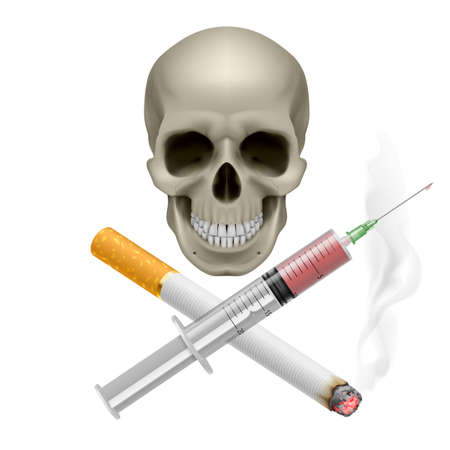 Realistic skull with a cigarette and syringe. Illustration on white background