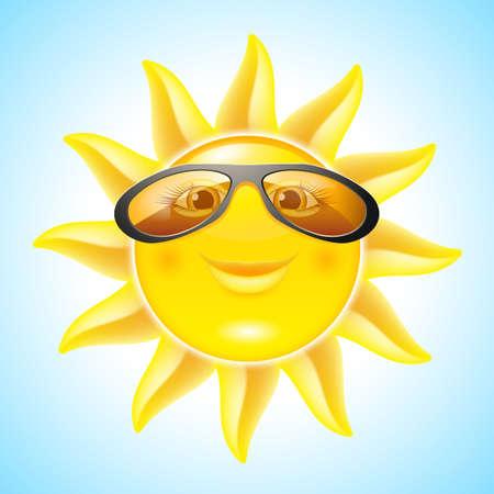Fun Sun with Sunglasses. Cartoon Character for design