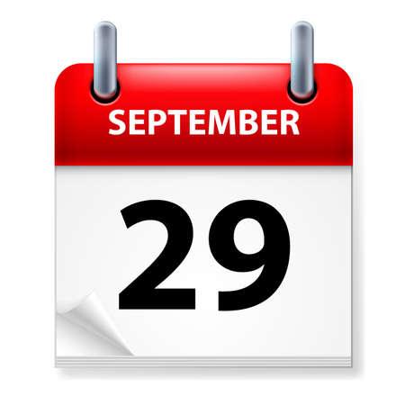 Twenty-ninth September in Calendar icon on white background