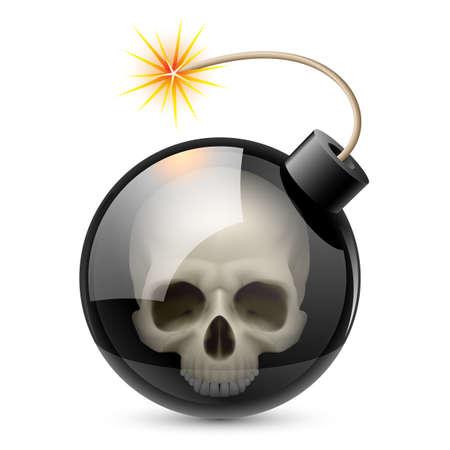 Bomb with Skull. Illustration on white background for design
