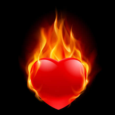 Burning Heart. Illustration for design on black background
