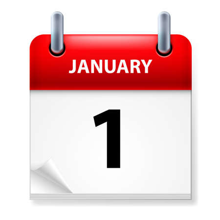 First January in Calendar icon on white background
