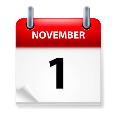 First  in November Calendar icon on white background