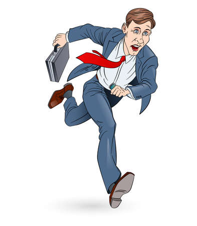 Businessman Running To Work With Briefcase. Illustration on white. In Color.