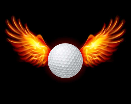 Golf-Fiery wings, a color illustration on a black background
