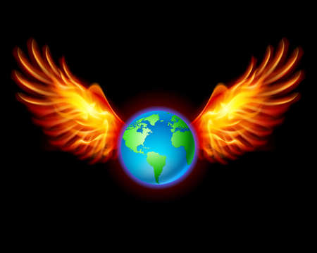 Planet the Earth with fiery wings, a color illustration on a black background