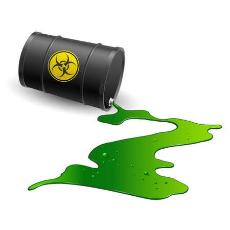 Illustration pour Spilled chemical barrel. Illustration on white background - image libre de droit