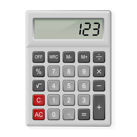 Top View of Gray Calculator. Illustration on white