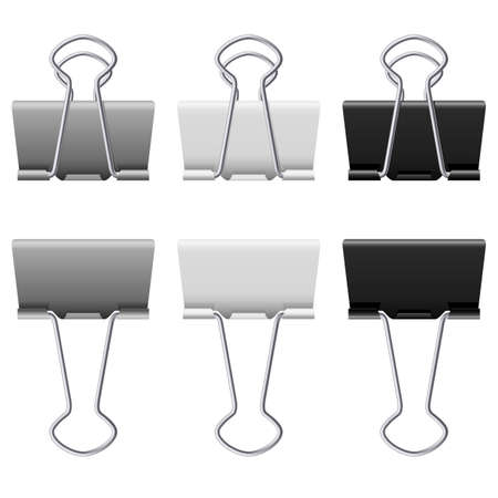 Gray binder clips. Illustration on white background