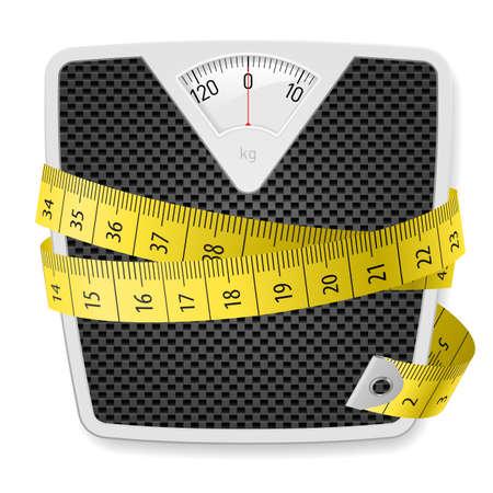Ilustración de Weights and tape measure. Illustration on white background - Imagen libre de derechos