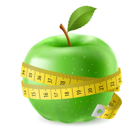 Green apple and measure tape. Illustration on white background