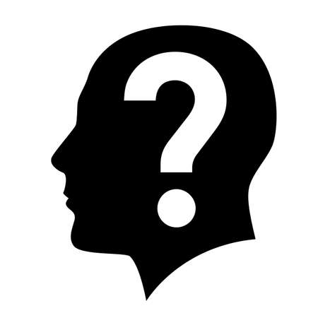 Ilustración de Human head with question mark symbol on white - Imagen libre de derechos