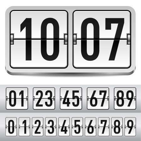 Numbers of gray mechanical panel. Illustration for design