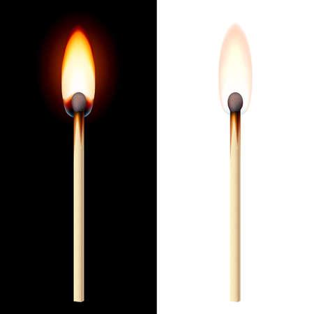 Realistic burning match on white and black background.