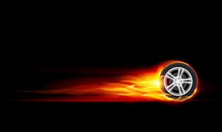 Red Burning wheel. Illustration on black background