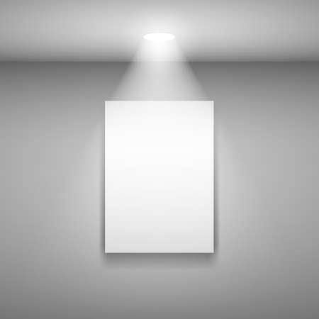 Illustration for Vertical Frame on the wall with light. Illustration on gray background - Royalty Free Image