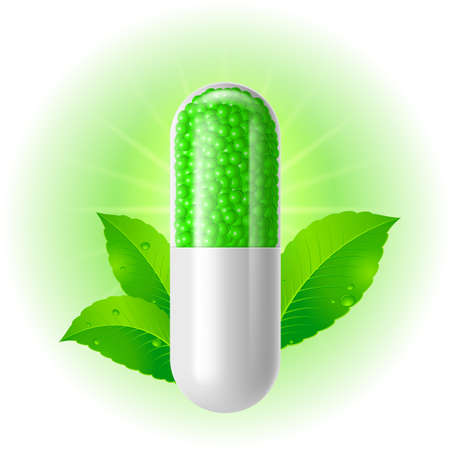 Organic capsule with green Leaves. Illustration on white for design
