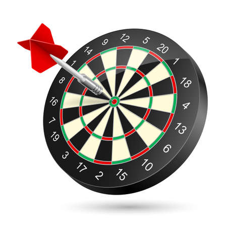 Dartboard with dart. Illustration on white background