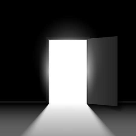 Abstract open door. Illustration on black background for creative design