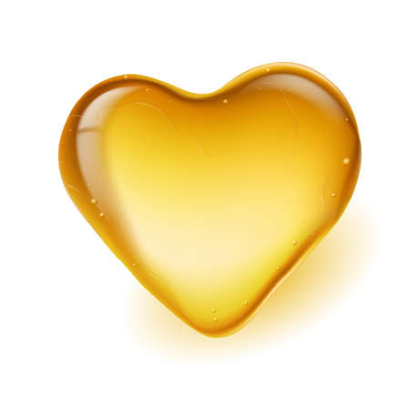 Realistic amber in a heart shape. Illustration on white background