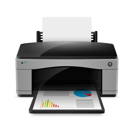 Realistic printer. Illustration on white background for design