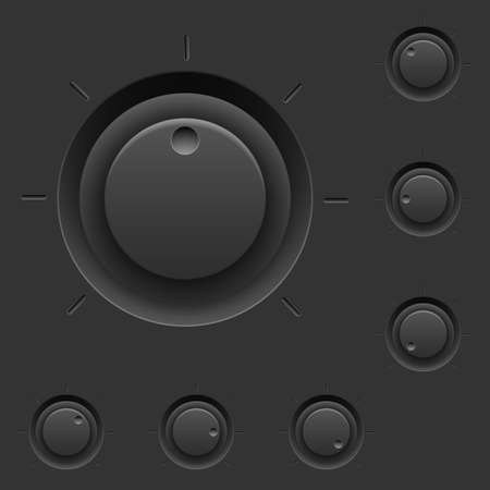 Black control panel with switches. Illustration for interface design