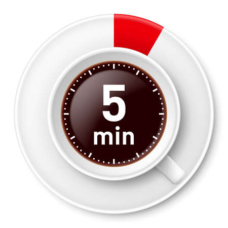 Cup of coffee with time limit for break: five minutes. Illustration on white background.