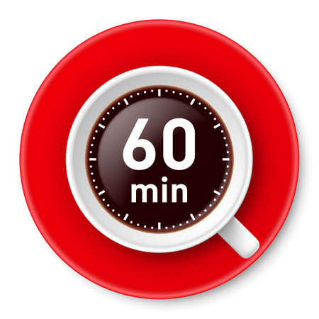 Cup of coffee with time limit for break: one hour. Illustration on white background.