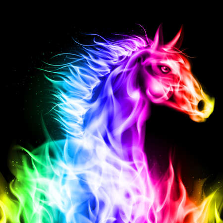 Head of fire horse in spectrum colors on black background.
