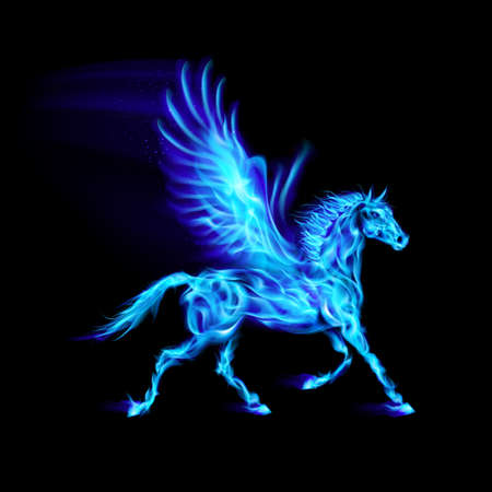 Blue fire Pegasus in motion on black background.