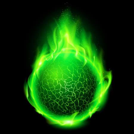 Blazing green lava ball on black background.