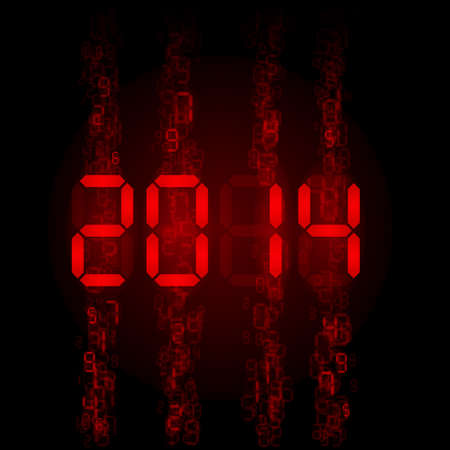 New Year 2014: red digital numerals on black.