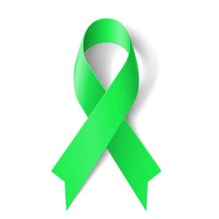 Kidney cancer awareness green ribbon on white background.