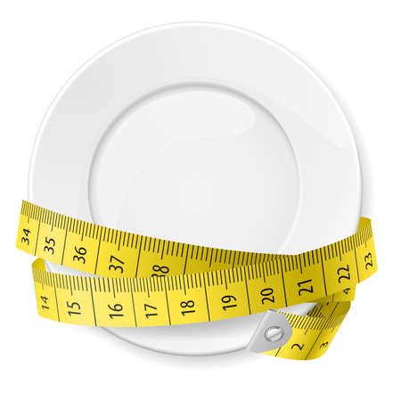 Clean plate with measuring tape as diet concept.
