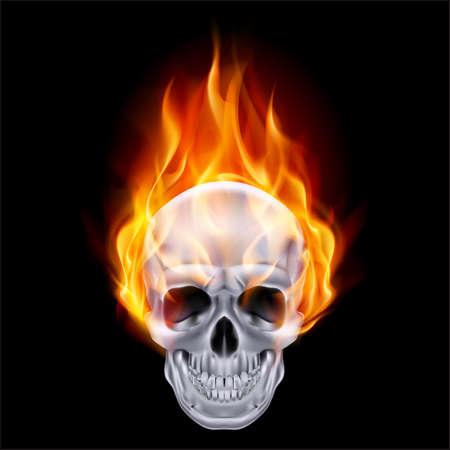 Illustration of chrome fire skull on black .