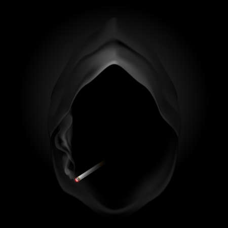 Death image with cigarette. Give up smoking, it kills.