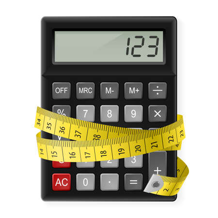 Black calculator with measuring tape as symbol of counting calories.
