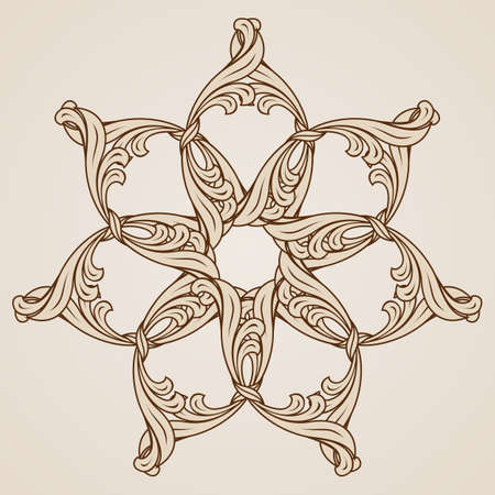 Beautiful floral ornament in light and dark brown colors