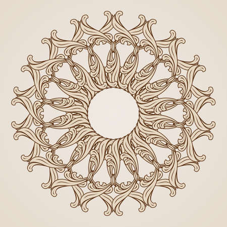Illustration of abstract floral pattern in light and dark brown colors